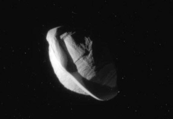 Shadowed Close-up of Saturn's moon Pan